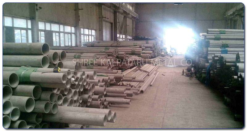 Original Photograph Of Stainless Steel 317L pipes At Our Warehouse Mumbai, India